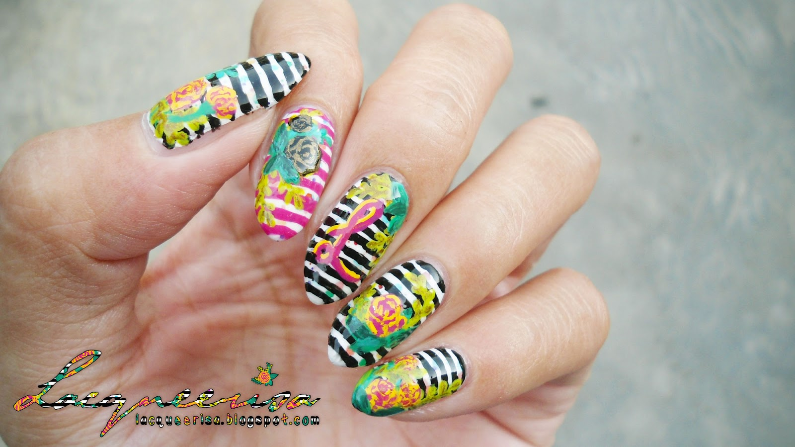 Striped Floral Monogram Nails lacqueerisa.blogspot.com