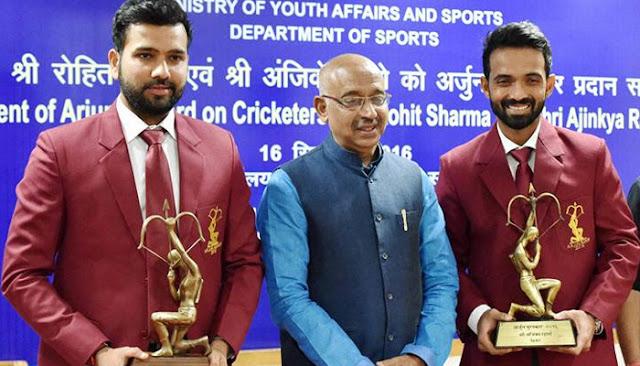 अर्जुन पुरस्कार से सम्मानित किया गया रोहित शर्मा और अजिंक्य रहाणे को