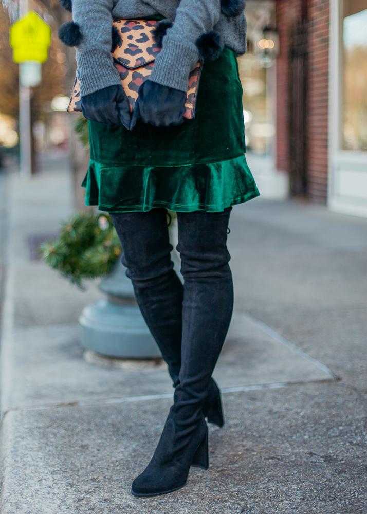 revolve green velvet ruffle skirt