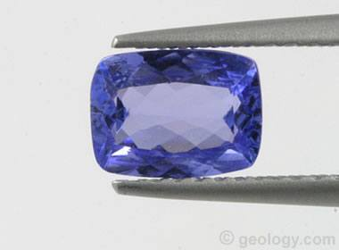 Image showing a violet-blue tanzanite weighing 1.02 carats, antique facet cut.