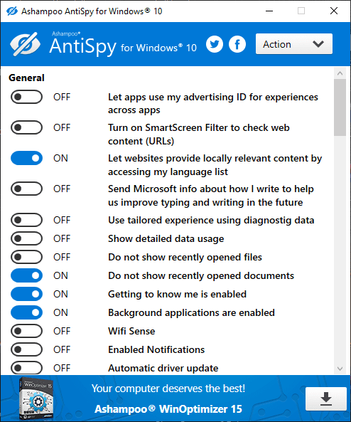 برنامج Ashampoo Antispy For Windows 10