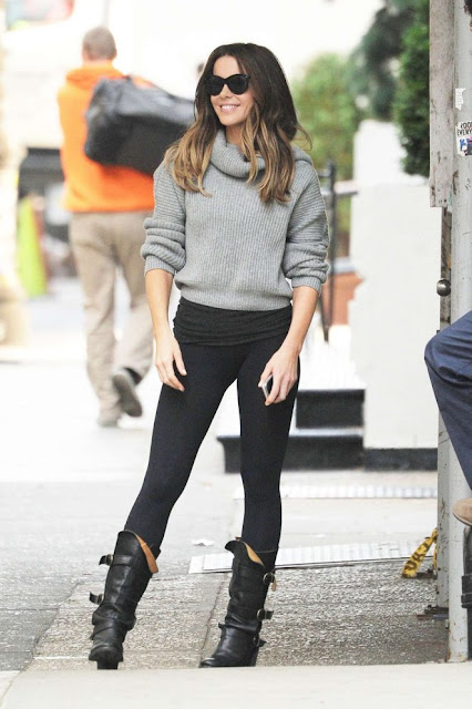 Kate Beckinsale in Tights on the set of 'The Only Living Boy' in New York