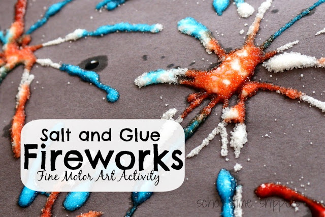 salt and glue fireworks craft