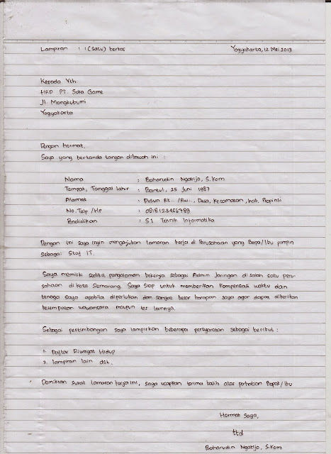 Contoh Surat Lamaran Kerja Tulis Tangan dan Ketik cara membuat berkas melamar pekerjaan lengkap kaidah eyd baik benar menarik perhatian perusahaan mudah diterima persyaratan fungsi tujuan metode kertas folio komputer bikin pilih terbaru mana