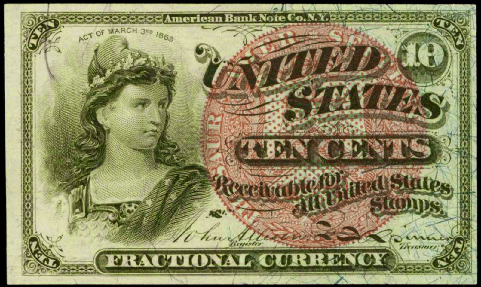 Fractional currency 10 Cents Liberty 1869