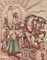 ūsiņš, spring, pavasaris, latvian folklore, latvian mythology, latviešu folklora, latviešu mitoloģija, capital r, 2018, drawing