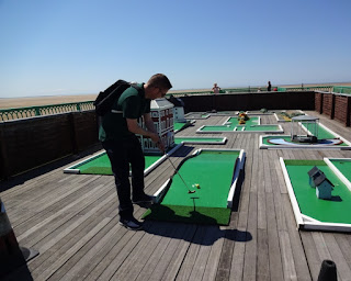Playing Crazy Golf on the end of Saint Annes Pier