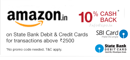 Amazon India Online Shopping 10% Cashback Discount Offer for SBI debit and credit Card Holders