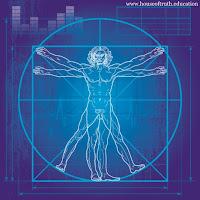 Kuvassa on tiedon symboli, eli Vitruviuksen mies.