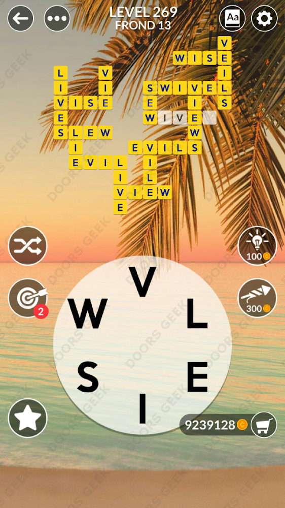 Wordscapes Level 269 answers, cheats, solution for android and ios devices.