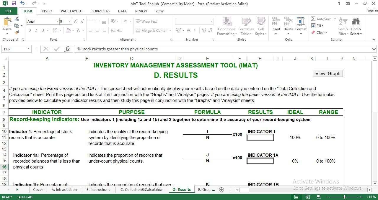 Inventory Management Assessment Excel Template