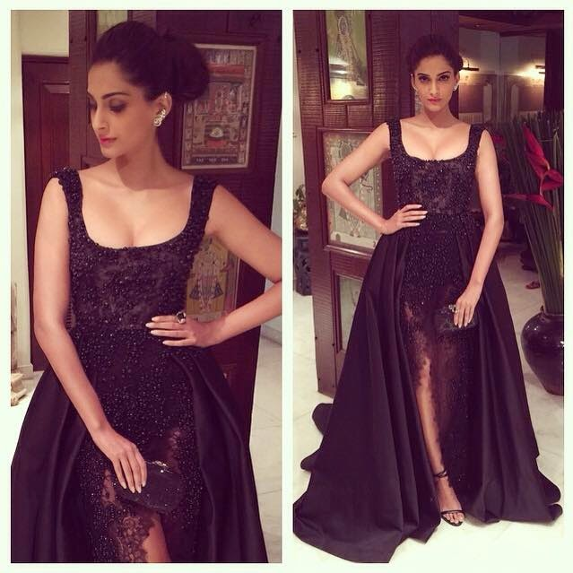 Sonam in Elie Saab and Farah Khan Ali jewellery for the Stardust Awards
