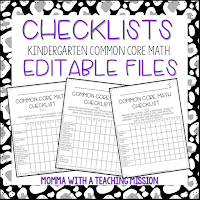 https://www.teacherspayteachers.com/Product/Checklists-Kindergarten-Math-Common-Core-EDITABLE-2768157