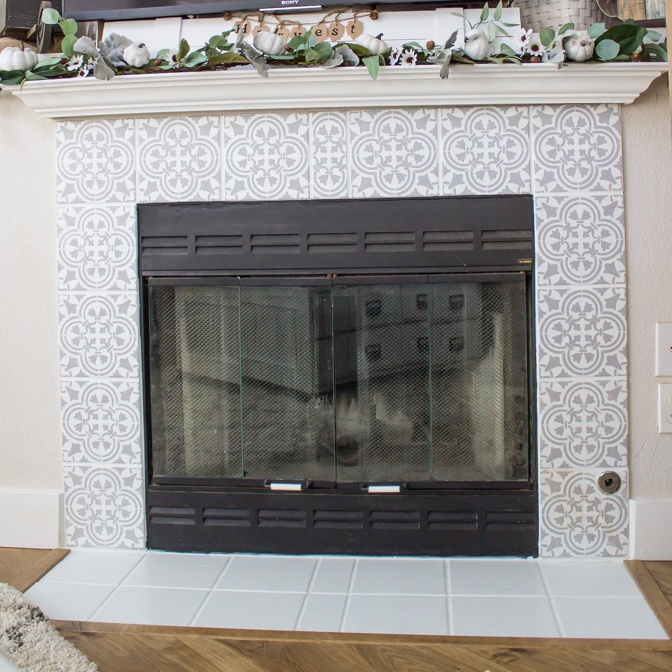 DIY Stenciled Tile Fireplace