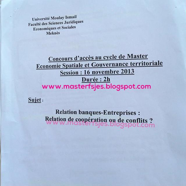 Master Economie et Spatiale et Gouvernance Territoriale 2013