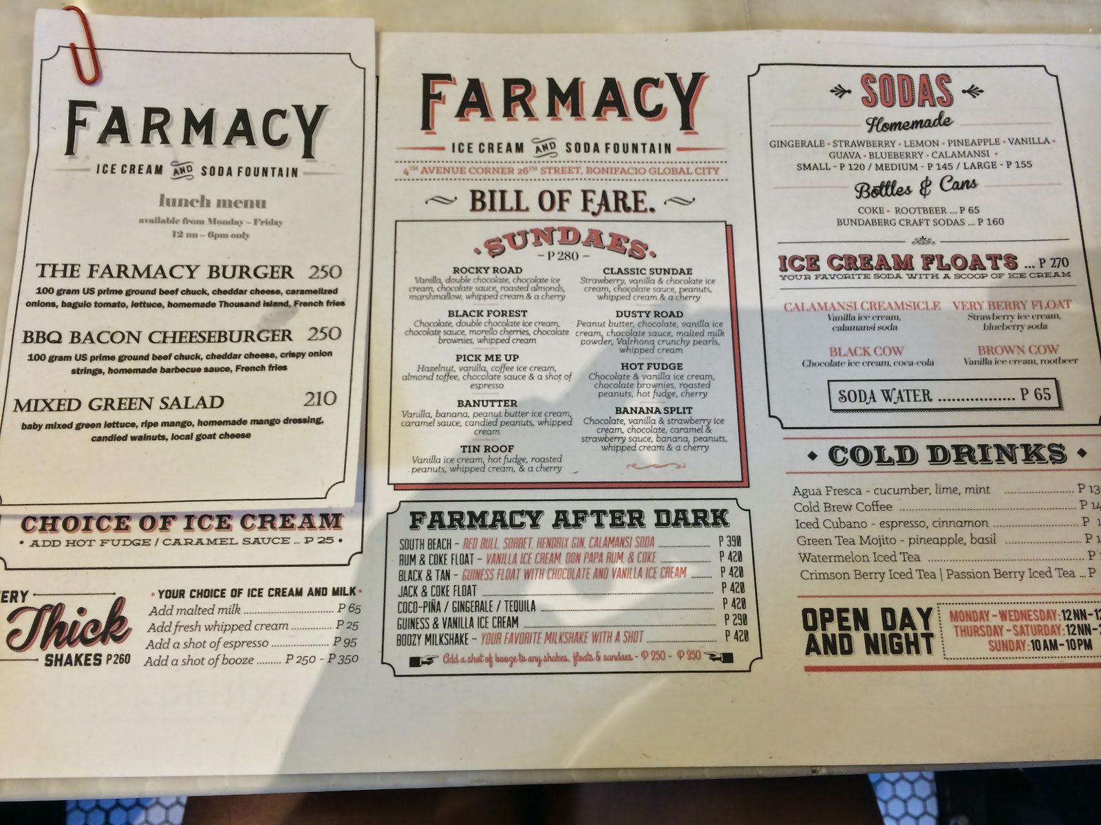 Farmacy Ice Cream and Soda Fountain menu