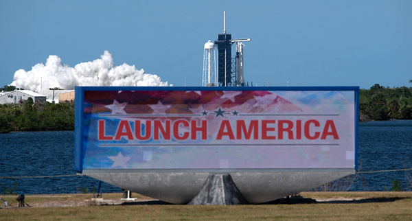 At Kennedy Space Center's Launch Complex 39A, the Falcon 9 rocket that will soar on next Wednesday's Demo-2 flight ignites its nine Merlin 1D engines during a static fire...on May 22, 2020.