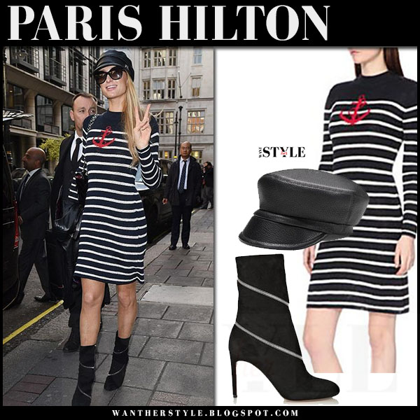 Paris Hilton in striped navy mini dress isabel marant earl and black boots alaia what she wore street style
