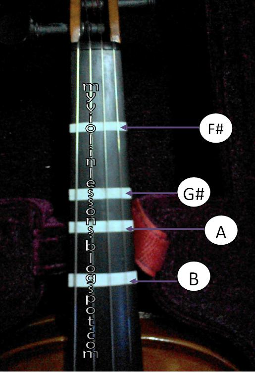 My Violin Lessons How to Put Violin Tapes - violin fingering chart