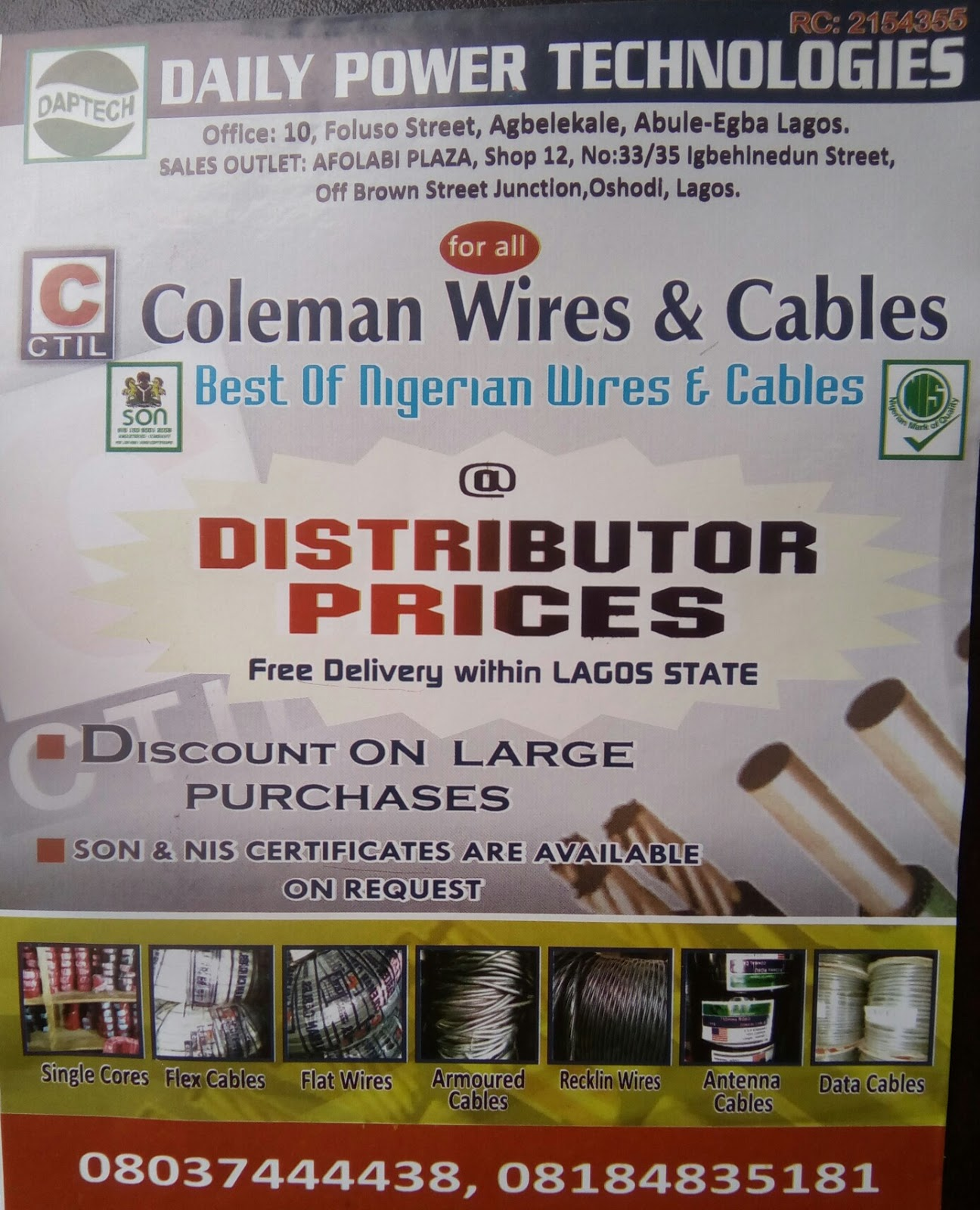 Daily Power Technologies : NIGERIAN WIRES & CABLES