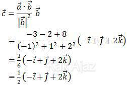 c adalah vektor proyeksi ortogonal vektor a terhadap vektor b, rumus dan penyellesaian UN 2013