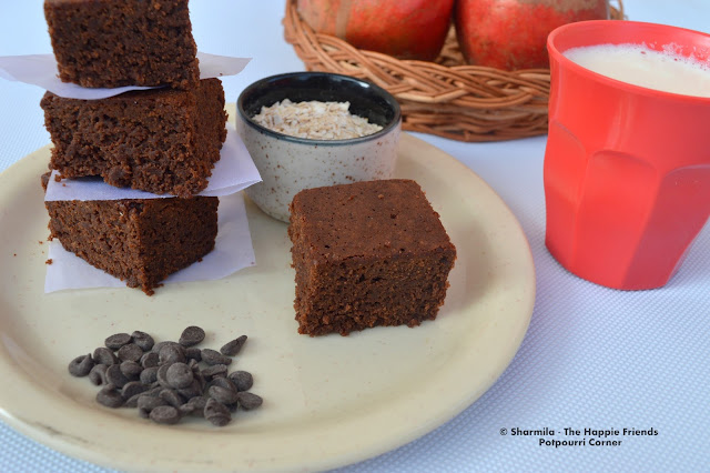 Eggless Whole Wheat Oats Chocolate Brownies