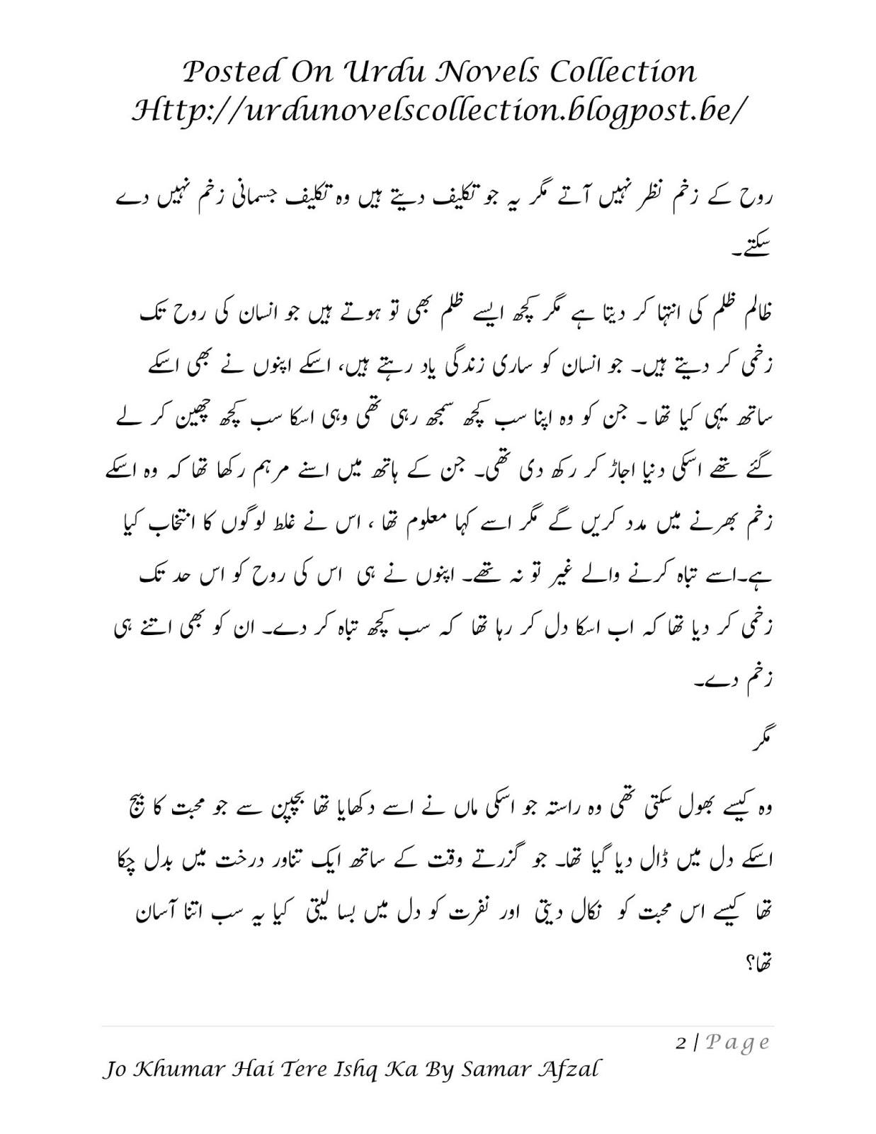 Jo Khumar Hai Tere Ishq Ka Novel By Samar Afzal Forced Marriage