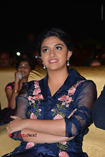 Actress Keerthi Suresh Stills in Blue Long Dress at Nenu Local Audio Launch  0018.JPG