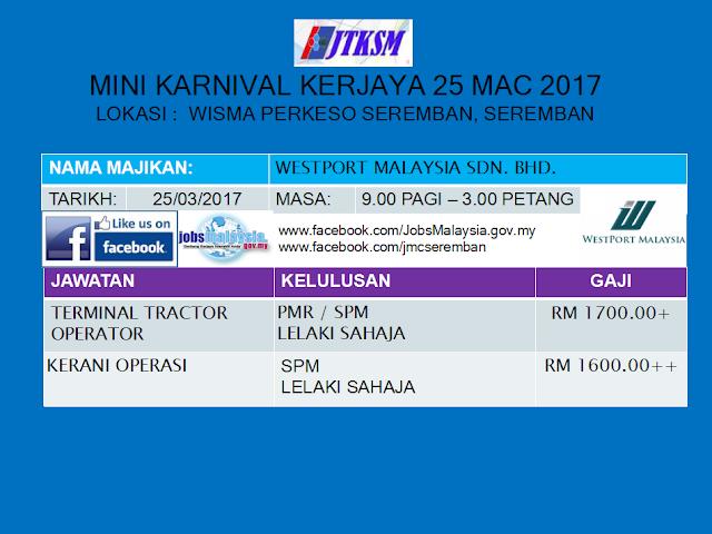 Senarai Jawatan Yang Ditawarkan Pada Mini Karnival Kerjaya 25 Mac 2017