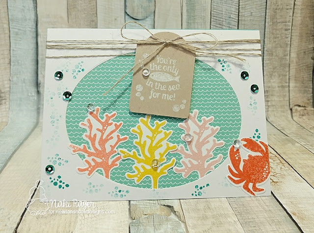 Ocean Card by Naki Rager features Tranquil Tides by Newton's Nook Designs, #newtonsnook