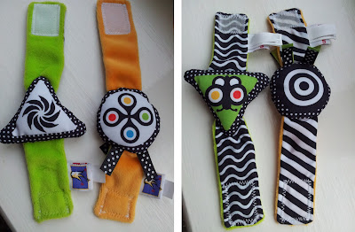 reversible wrist rattle, rattle, wrist band