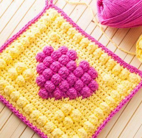 Manta de Corazones al Crochet y Cómo calcular cantidad de lana ...