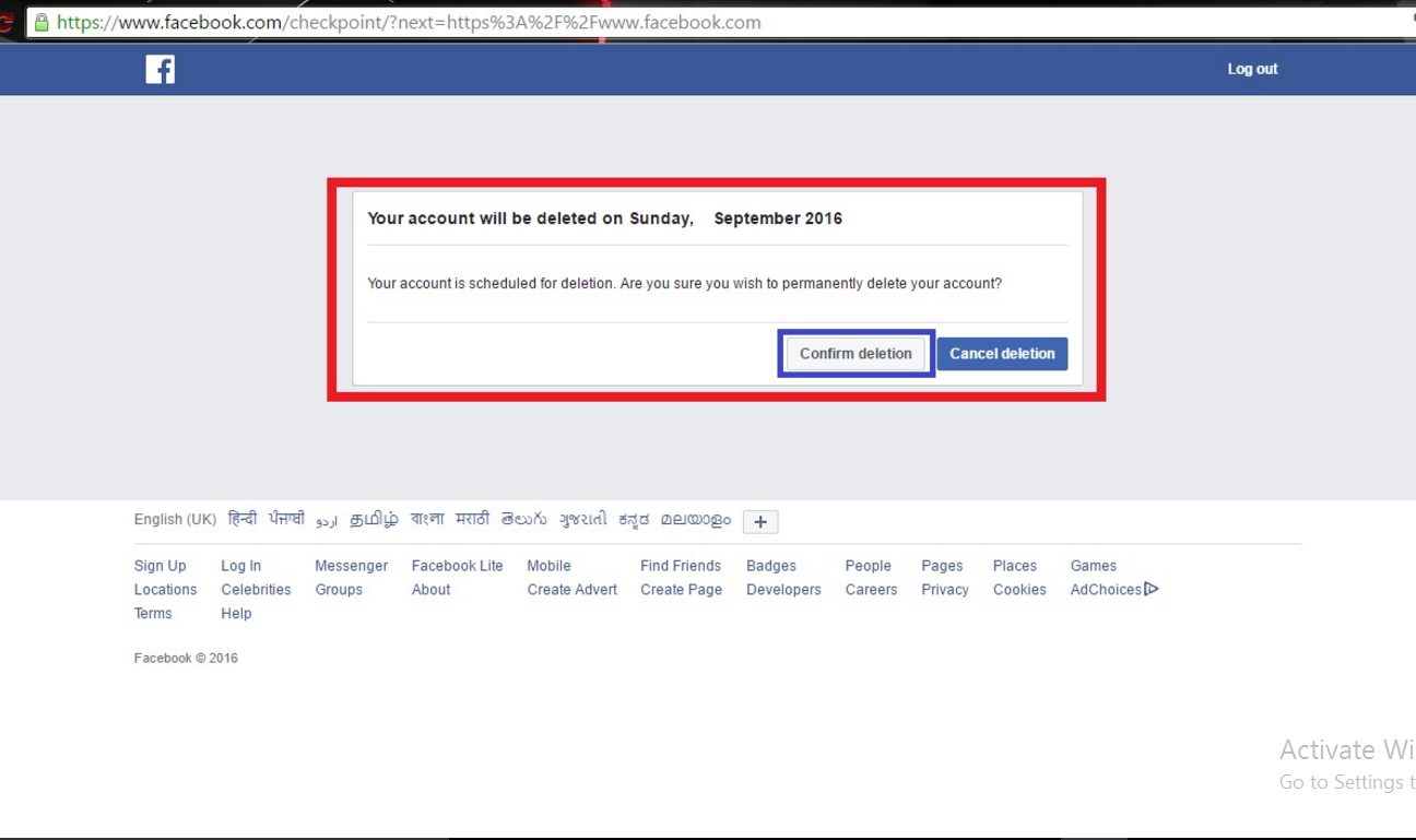 How to delete facebook page or facebook account weapons x tricks note your account has been deactivated permanently within 14 days so dont login your account within next 14 days how to delete facebook ccuart Image collections