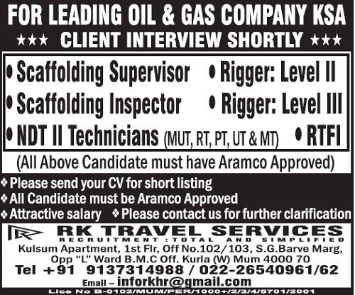 RTFI Jobs, Scaffolding Inspector, Scaffolding Jobs, Scaffolding Supervisor, NDT Technician, Rigger, Certified Rigger, NDT Jobs, Saudi Arabia Jobs, Gulf Jobs Walk-in Interview,