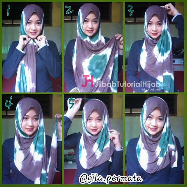 tutorial hijab modern bermotif dua warna terbaru