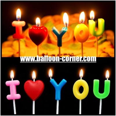 Lilin Ulang Tahun / Ultah Motif I LOVE YOU