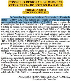 concurso CRMV-BA 2018