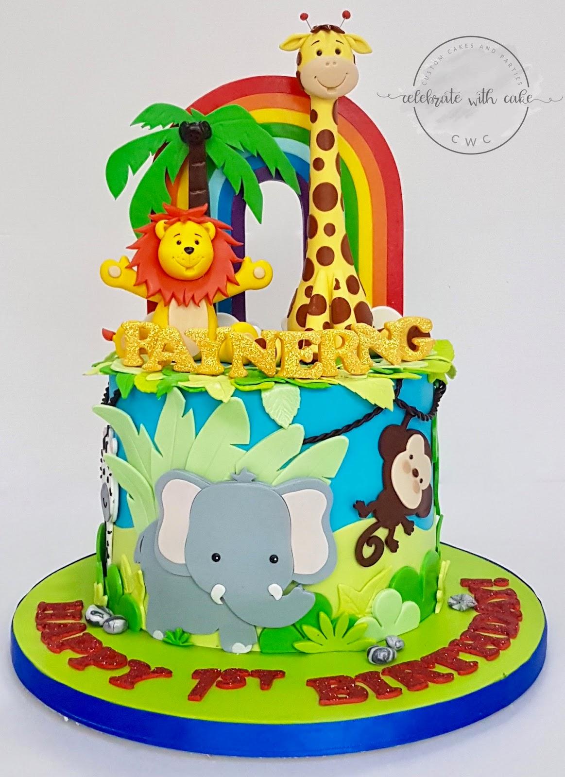 Cheerful Safari With Rainbow Cake