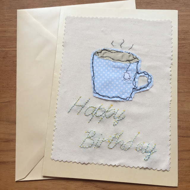 free motion stitching handmade birthday card