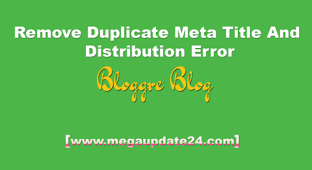 remove duplicate meta title and distribution error