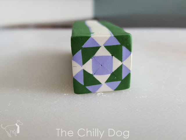 Learn how to make a quilt block inspired polymer clay cane using Sculpey clay