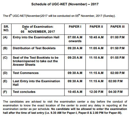 image : Schedule of UGC NET NOV 2017@ cbse-net.in