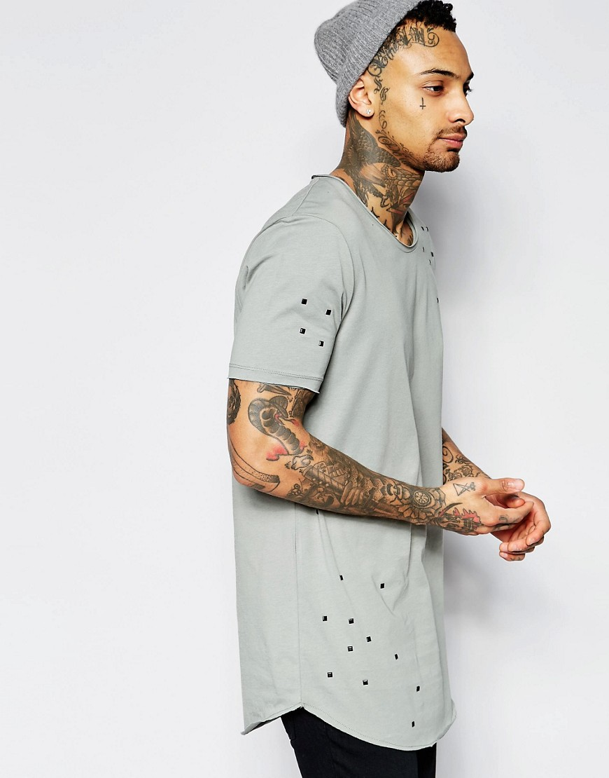 ASOS Super Longline T-Shirt With Random Studs In Raw Scoop Neck And Hem In