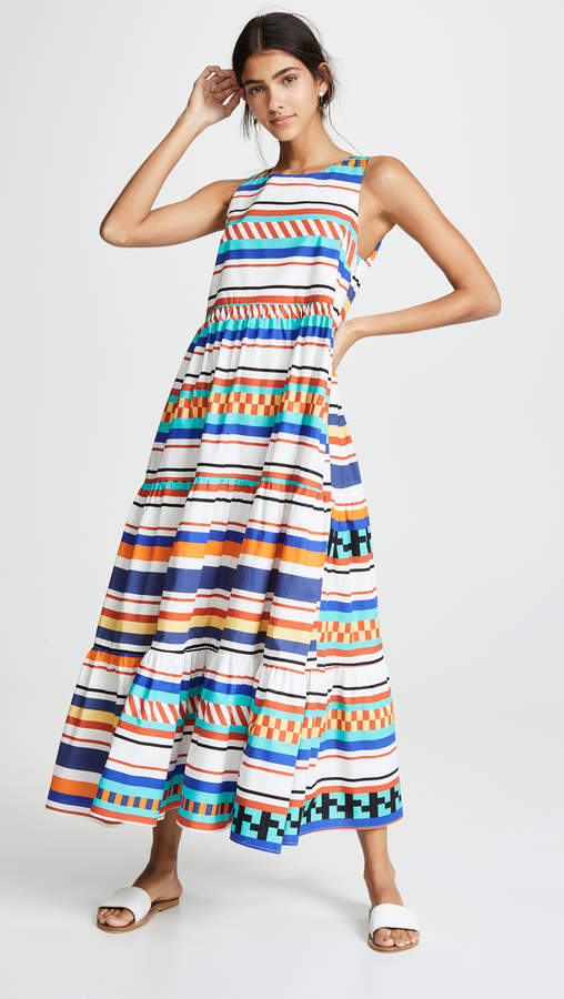MDS Stripes Peasant Dress