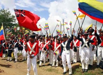 Foto de la Batalla de Carabobo escenificado por niños
