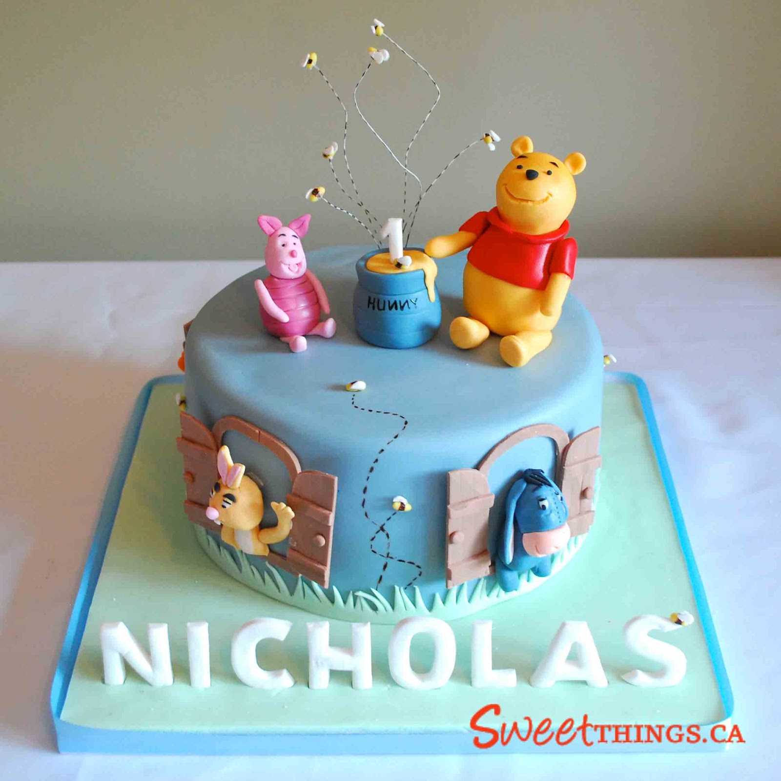 I Was Excited To Do A 1st Birthday Cake With The Modern And More Colorful Winnie Pooh Characters