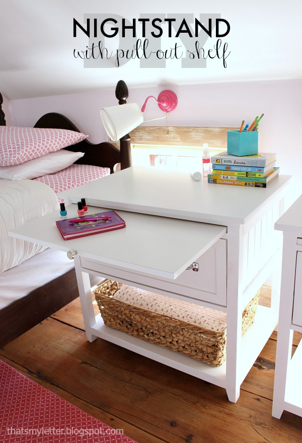 17 Best Images About Nightstand Plans On Pinterest: That's My Letter: DIY Nightstand With Pull-Out Ledge (free