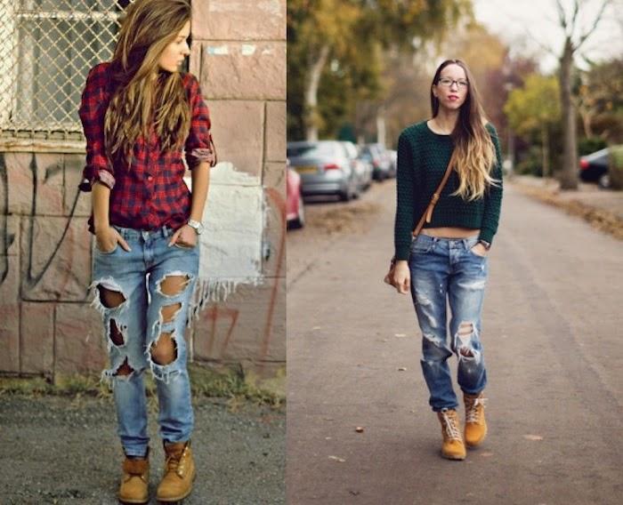 jeans boyfriend e timberland