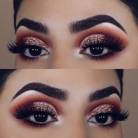 Maquiagem dourada com rosé