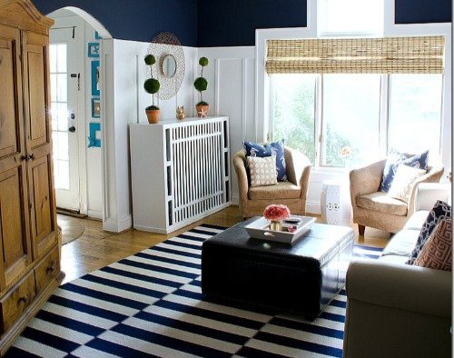 Nautical Living Room Design Idea with Navy Stripe Rug